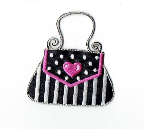 Iron On Embroidered Applique Patch Black and Silver Fashion Purse Pink Heart