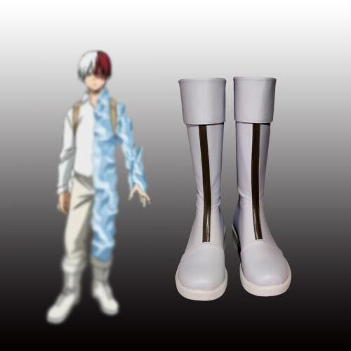 Hot My Boku no Hero Academia Men Todoroki Shoto Cosplay White Fashion Boots Shoe