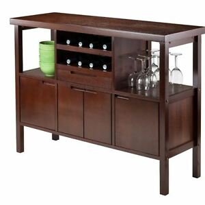 Details About Liquor Cabinet Mini Bar Furniture Wine Rack Buffet Table  Kitchen Island Brown