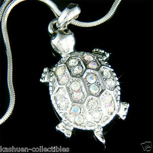 TURTLE-made-with-Swarovski-Crystal-Sea-Tortoise-terrapins-Charm-chain-Necklace