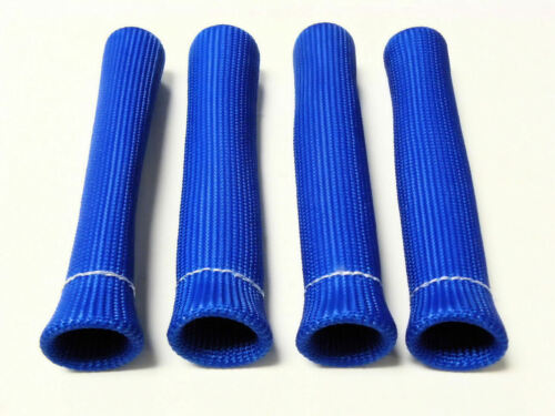 VMS BLUE 4 SPARK PLUG WIRE BOOT HEAT SHIELD PROTECTOR SLEEVE SLEEVING FUEL OIL