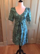 NWT Juicy Couture Blue Paisley Day Dress Sz 6 $278 Short Puffy Sleeves Sundress