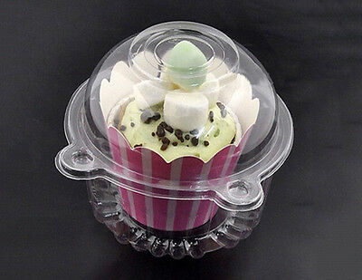 10Pcs/Pack Clear Plastic Cupcake Cake Case Muffin Pod Dome Holder Box Container