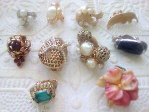 Marvella-Trifari-Kramer-Vintage-single-clip-on-earrings-rhinestones-pearl