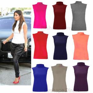 Ladies-Polo-Neck-Womens-Sleeveless-Stretch-Turtle-Neck-Jersey-Basics-Top-8-26