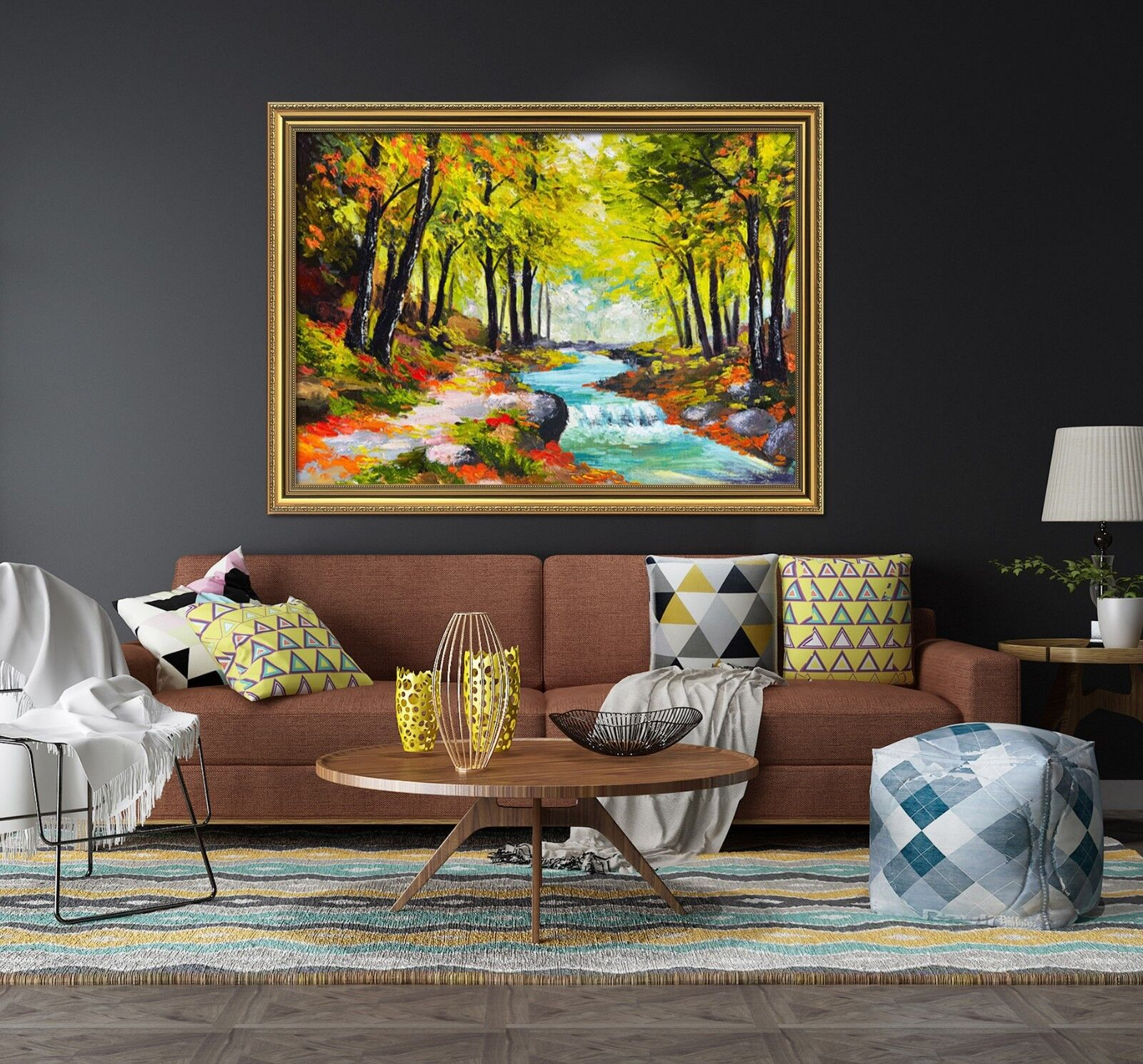 3D Painting Forest Creek 3 Framed Poster Home Decor Print Painting Art WALLPAPER