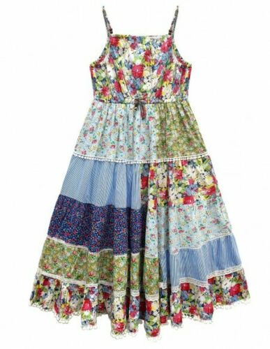 Girls Kids Floral Print Layered Patchwork Print Lace Strap Party Sun Flare Dress