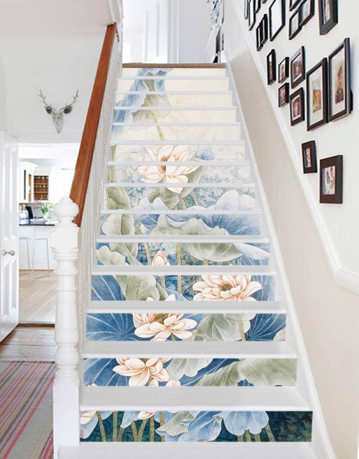 3D Lotus Painted 16 Stair Risers Decoration Photo Mural Vinyl Decal Wallpaper US