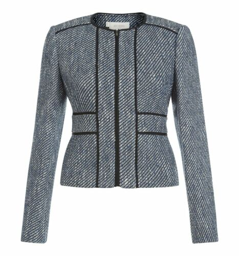 HOBBS Lilibeth Texted Woven Fabric Blue Multi Jacket Various Sizes RRP £179.