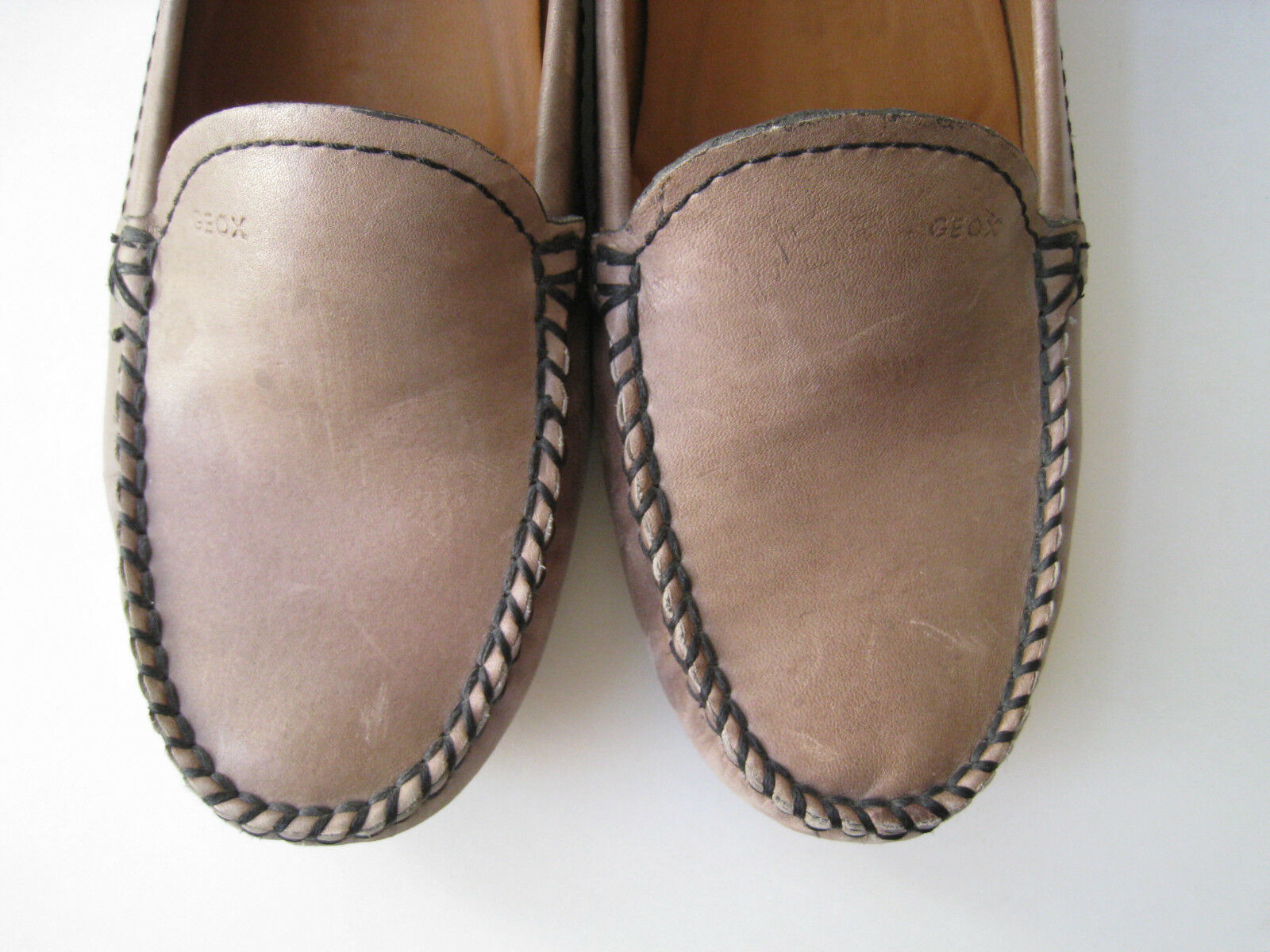 GEOX RESPIRA EUR BROWN LEATHER LOAFERS WOMEN Größe US 9.5 EUR RESPIRA 39.5  COMFORT 44f1e9