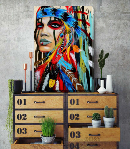 Indian Chief Stretched Canvas Print Framed Wall Art Home Office Shop Decor F115