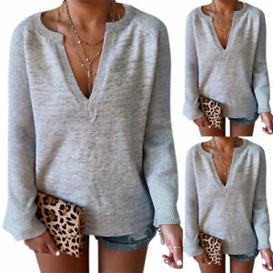 Women-V-Neck-Sweater-Pullover-Sweatshirt-Jumper-Sexy-Tops-Loose-Fit-Shirt-Blouse