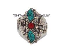 Adjustable Turquoise Ring Coral ring Gypsy ring Tibetan ring Tibet Ring RB16