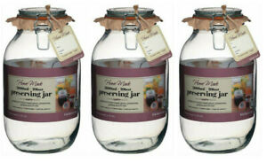 3-x-Extra-Large-New-3-Ltr-Kitchen-Craft-Clip-Seal-Glass-Preserving-Storage-Jars
