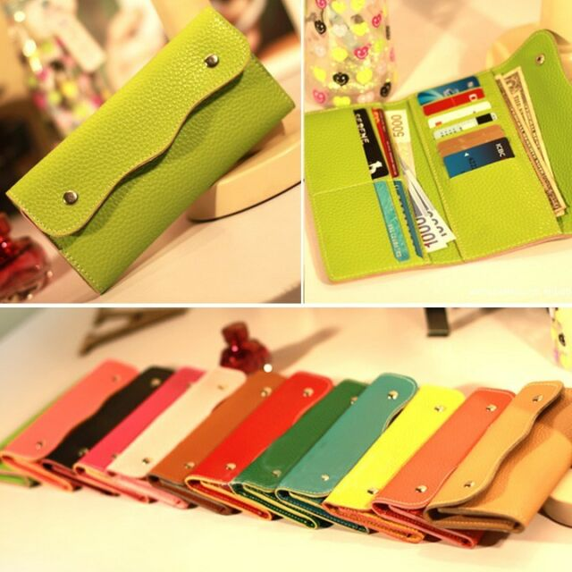 Fashion Womens Faux Leather Bifold Card Holder Clutch Bag Wallet Purse Case Gift