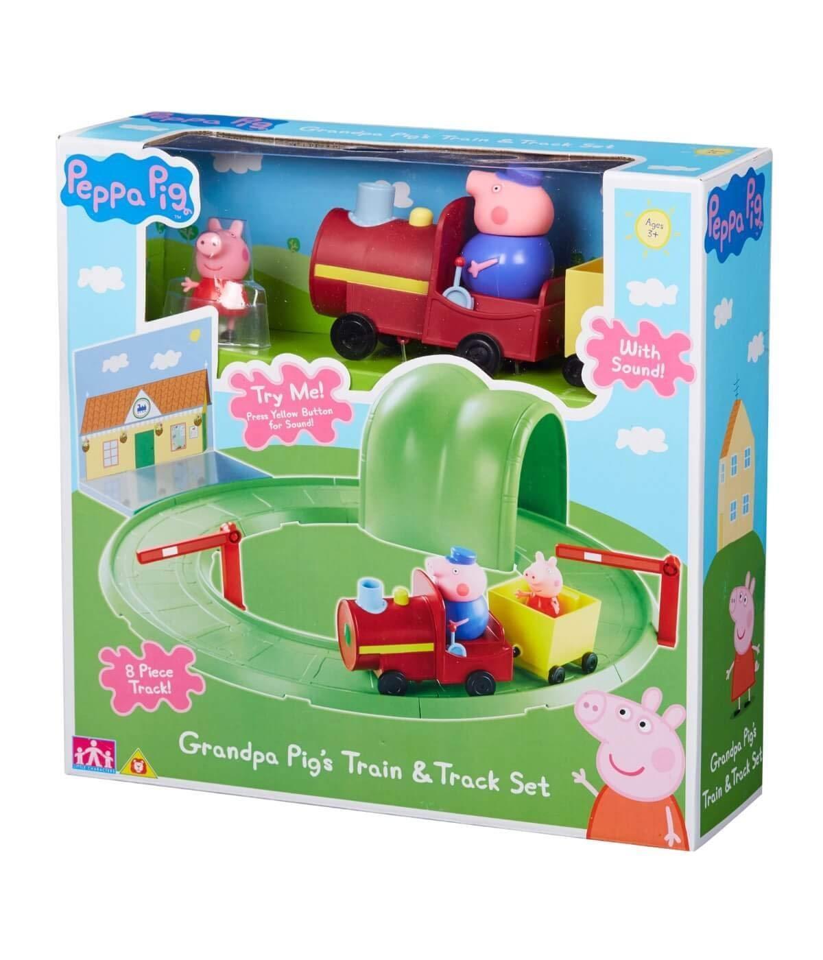 Peppa Pig Grandpa Pig Tren & Set de Pista con Sonido Playset de Juguete