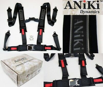 2X TANAKA UNIVERSAL BLACK 4 PT BUCKLE RACING SEAT BELT HARNESS FITS POLARIS UTV