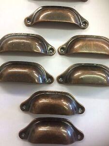 8x-Copper-Cup-Handles-pulls-Pine-Antique-Vintage-Drawer-Knob-Door-Cupboards