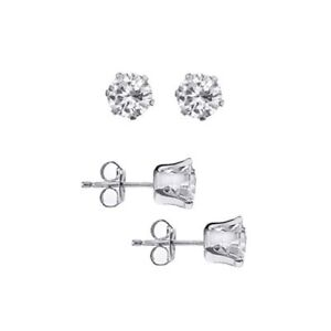 Real .925 Sterling Silver Prong Set Round CZ Stud Earrings in All Carat Sizes