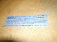 1966 Ford Bronco Factory Air Cleaner Oil Bath Service Instructions Decal Sticker