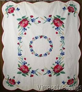 So-Romantic-Vintage-30-50s-Red-Poppies-Applique-QUILT-85x76-Vintageblessings
