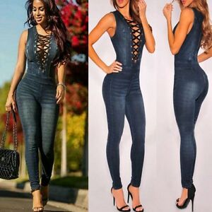 Women's Stretch Dark Denim Body Hugging Bodysuit Jumpsuit ...