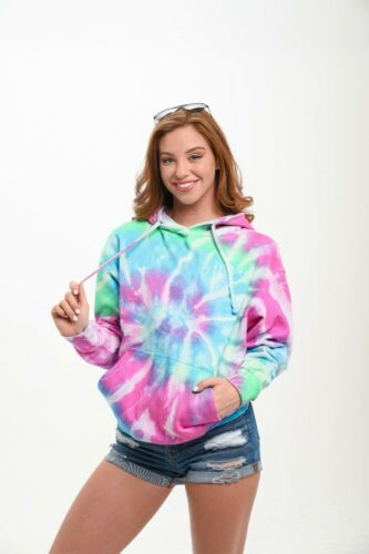 Tie Dye Bubble Gum Multi Color Pullover Hoodie Sweatshirt Pocket Unisex Small