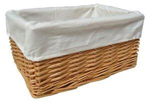 Details About Natural Wicker Basket Nursery Storage Gift Hamper Cream Cotton Lining