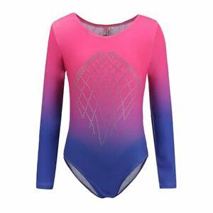 Kids Girls Gymnastic Leotard Long Sleeve Ballet Costume Dancewear Bodysuits