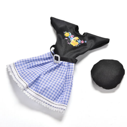 2 Pcs//set Black and Blue Grid Dresses for s Princess Dolls with Hat PipHICA