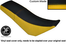 BLACK & YELLOW AUTOMOTIVE VINYL CUSTOM FITS DERBI SENDA BAJA 125 DUAL SEAT COVER