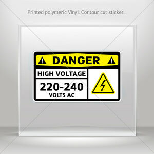 Stickers Decal Danger High Voltage 220 240 Volts Ac