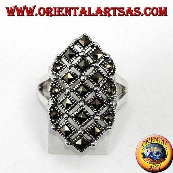 925 silver ring mit markasit quadratisch