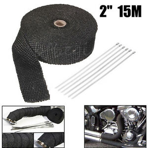 2-034-x-15M-CARS-BLACK-TITANIUM-HEAT-WRAP-EXHAUST-INSULATING-TAPE-DOWNPIPE-MANIFOLD