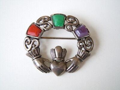 """Jewelry & Watches Sol D`or Vintage Brosche Mit Drei Farbsteinen """"hand & Herz"""" 11,4 G /4,3 X 3,8 Cm"""