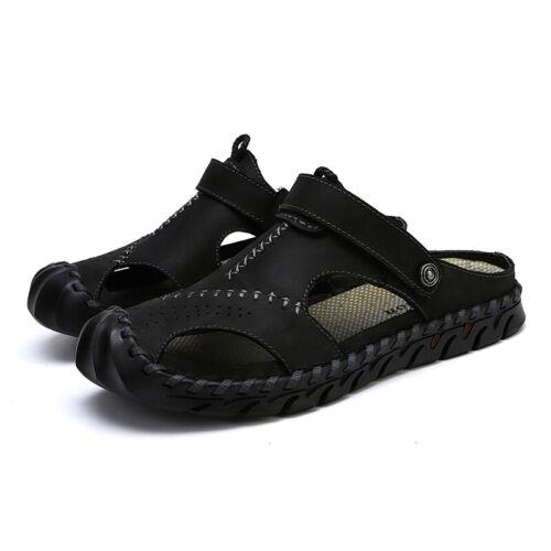 Herren Schuhe Leder Sandalen Pantoletten Outdoor Freizeit Sommer Hausschuhe Neu