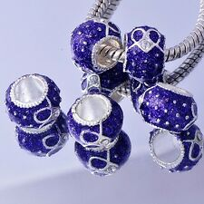 5 Purple tibetan White Gold Cubic Zirconia european beads charms F. bracelet lot