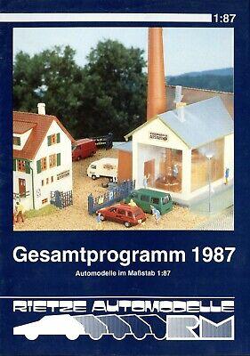 Intelligent Rietze Automodelle Katalog 1987 Prospekt Modellautos Catalog Model Cars Brochure