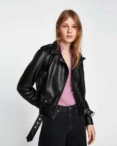 BNWT-RRP-99-ZARA-Faux-Leather-Biker-Jacket-Beige-Black-Size-XS-S-M-L-XL-3046-024