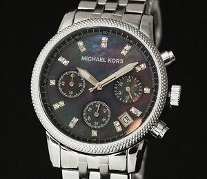 Michael-Kors-MK5021-Silver-Bracelet-Black-Dial-Ladies-Chronograph-Watch-RRP-249