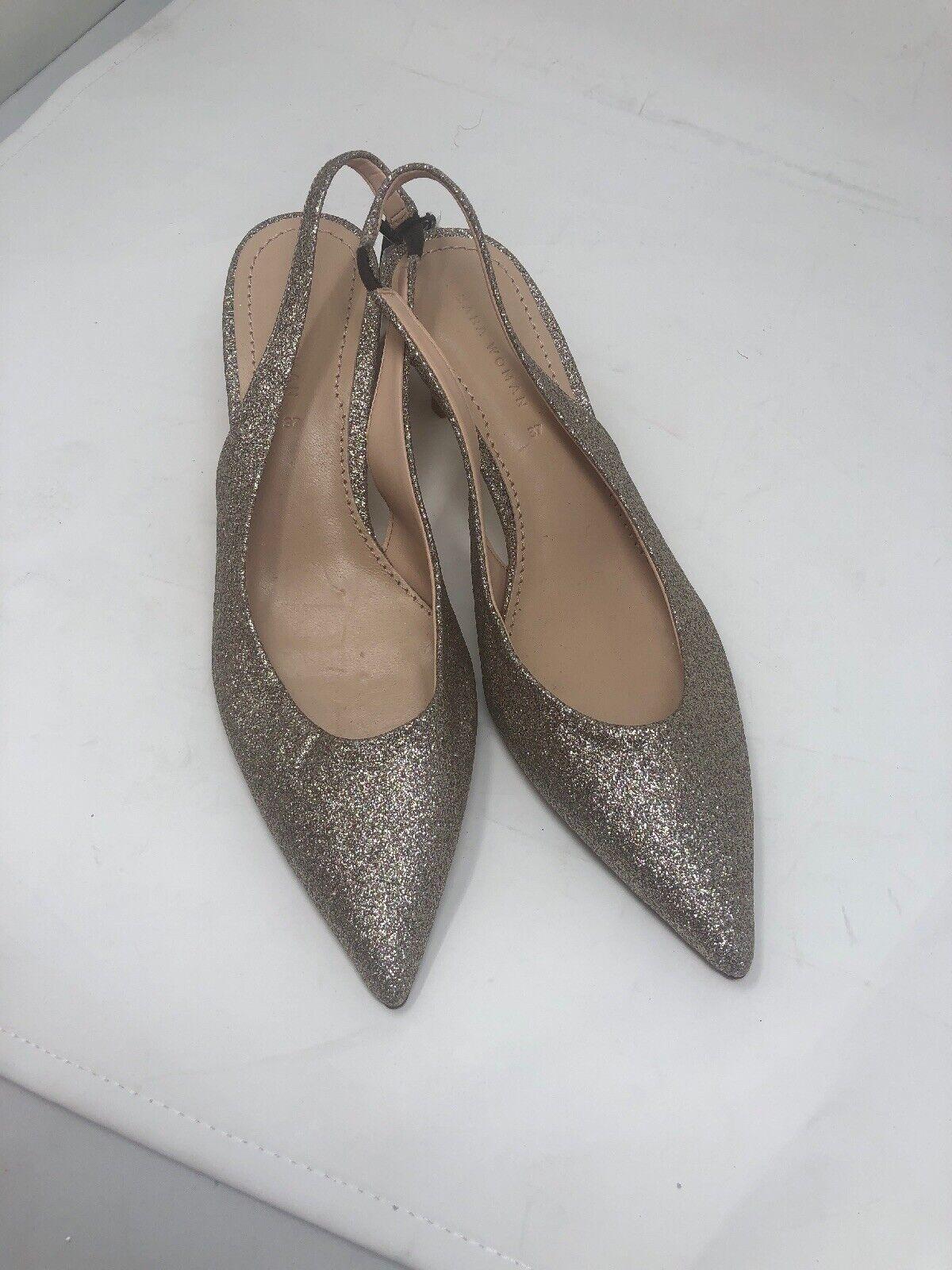 Zara Women shoes Sz 6.5 gold Glitter Slingback Ref 1235 301