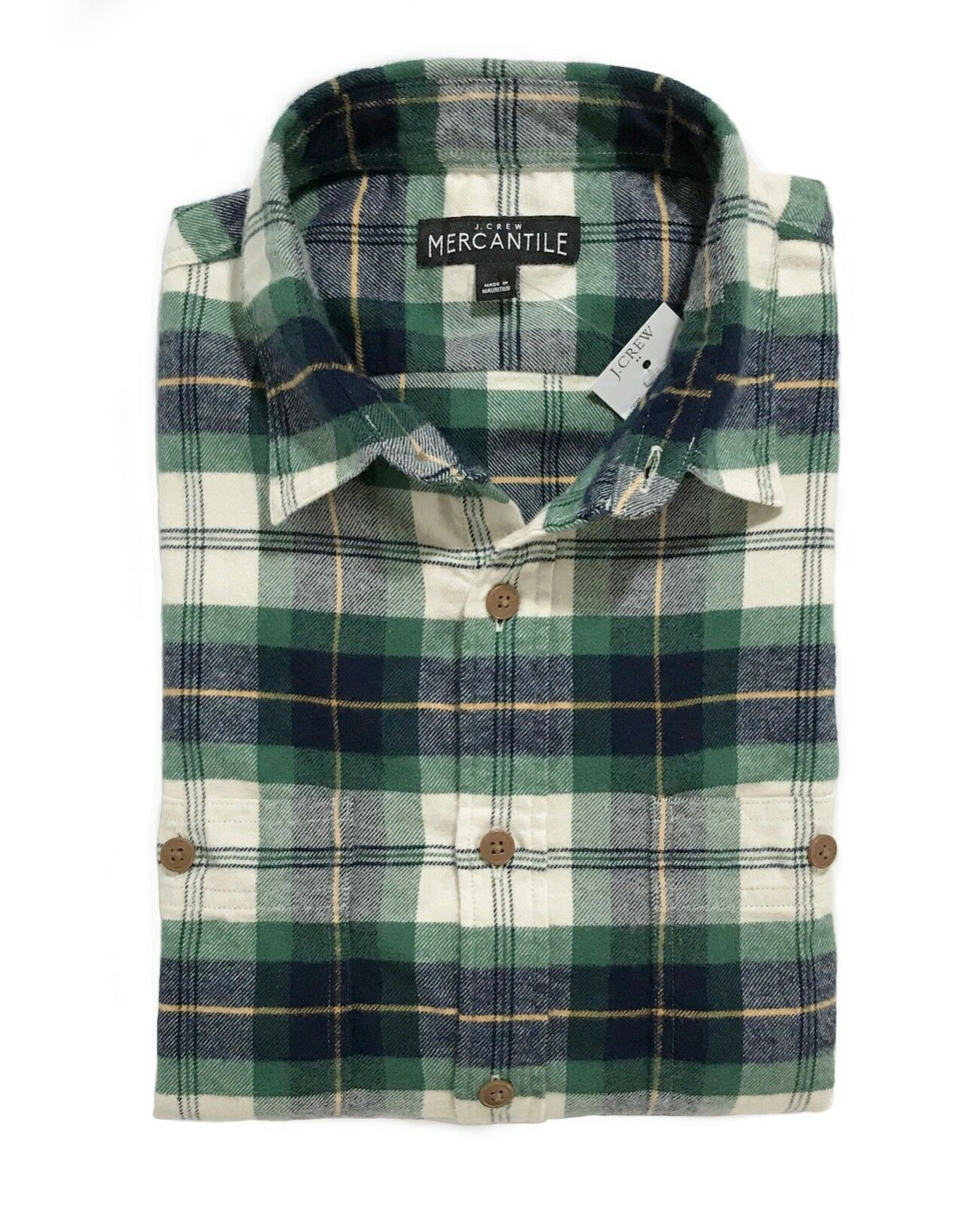 J.Crew Mercantile Mens S Slim Fit - NWT Green Navy Tartan Plaid Flannel Shirt
