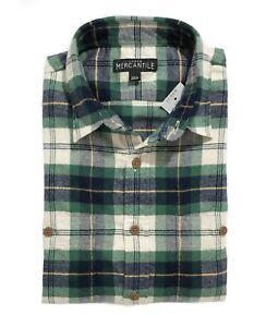 J-Crew-Mercantile-Mens-L-Slim-Fit-NWT-Green-Navy-Tartan-Plaid-Flannel-Shirt