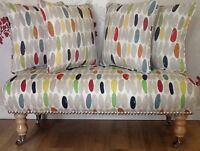 Long Footstool Stool & 4 Cushions Laura Ashley Wallace Retro Natural Fabric