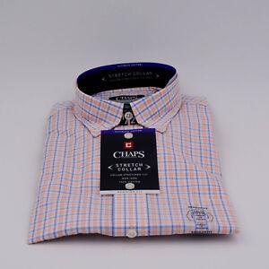 Mens-Chaps-Regular-Fit-Stretch-Collar-Button-Front-Long-Sleeve-Cotton-Shirt-New