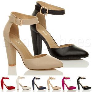 cbc6a678b5c15 Femmes haute large talon boucle lanière pointu escarpins chaussures ...