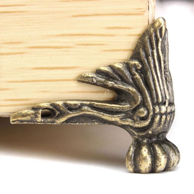 4 Bronze Wood Box Furniture Feet Leg Decorative Metal Corner Protector VintagFY4