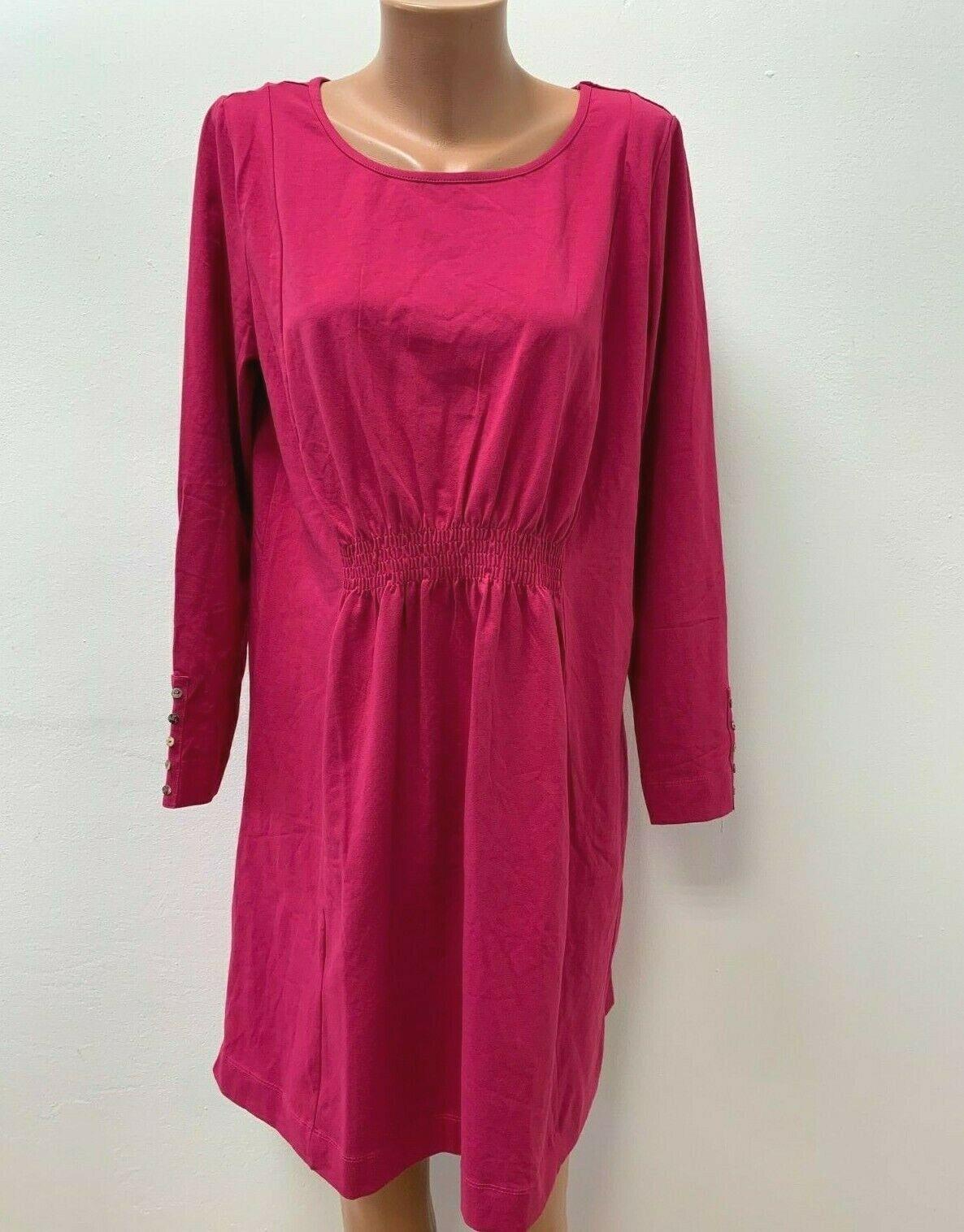 DEERBERG Gr. L Stretch Kleid Jersey Rosa Magenta Fuschia langarm