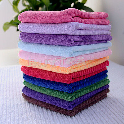 10X Durable Soft Fiber Cotton Face/Hand Cloth Towels Washcloths 24.5X23.5cm USJR