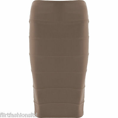 Womens Long Bodycon Rib Skirt Ladies Knee Length Bandage Ribbed Skirts 8-14 New